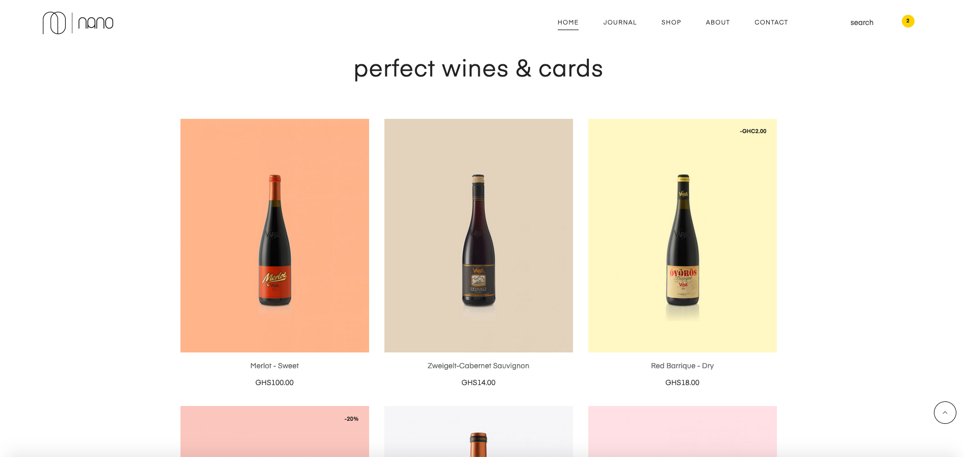Nano wines and cards homepage